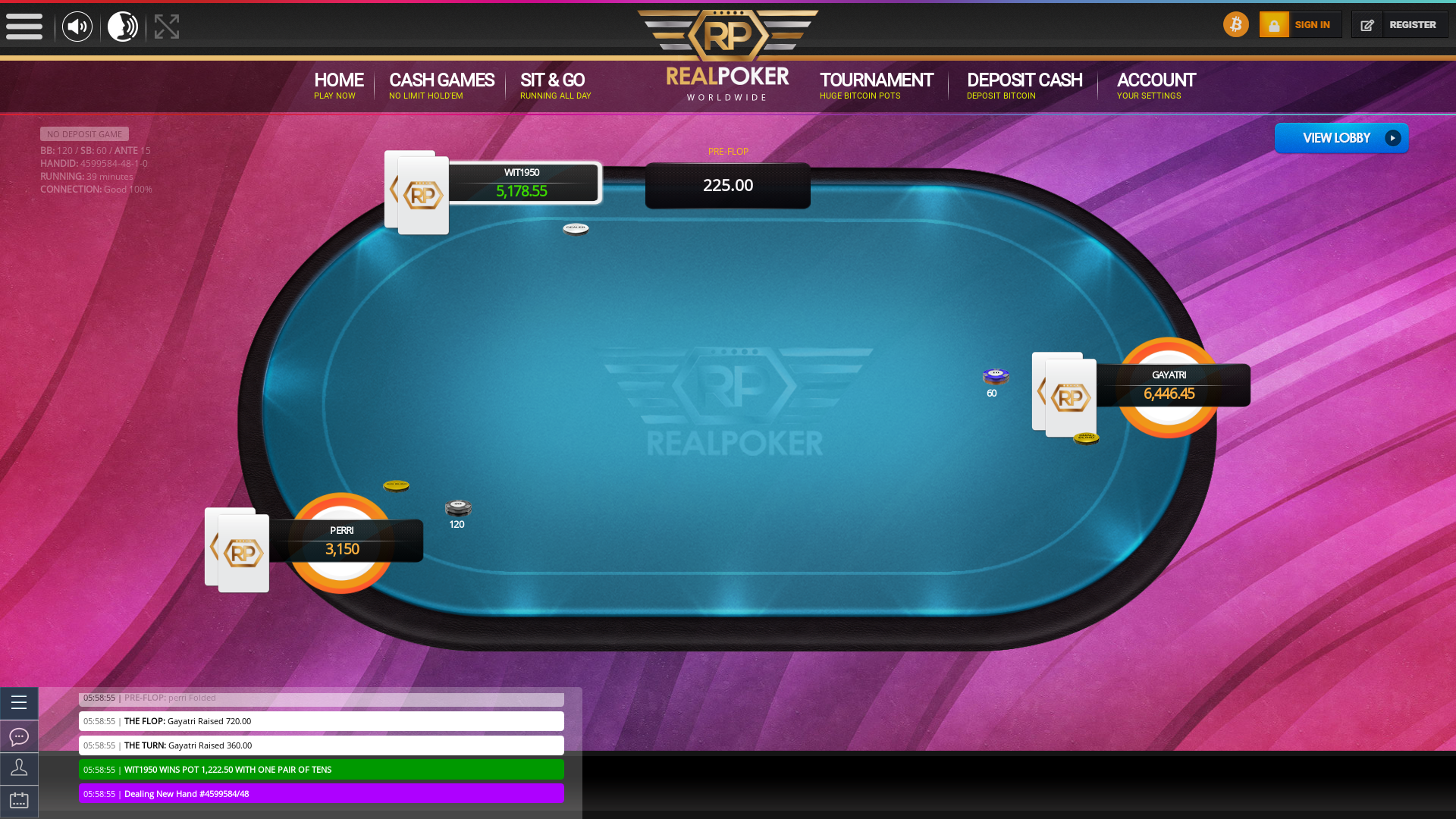 Rio de Janeiro real poker on a 10 player table in the 39th minute