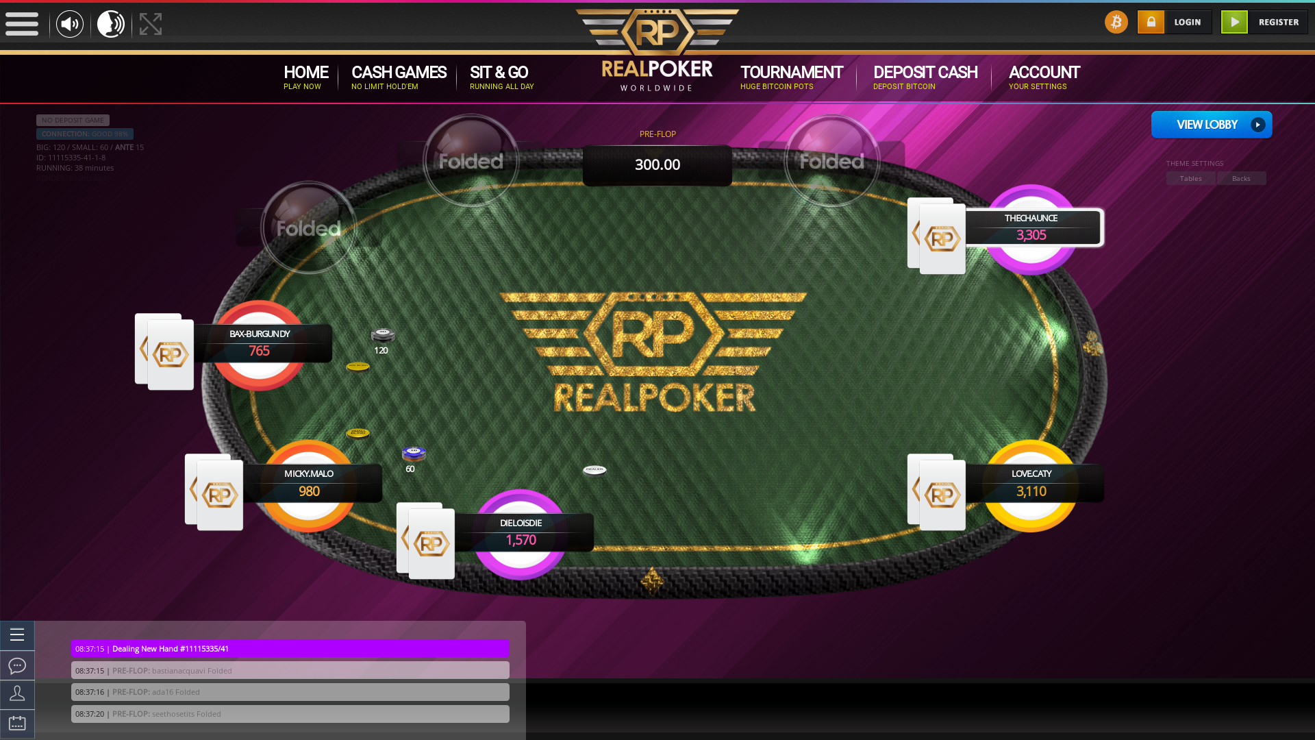 Romania online poker game on a 10 player table in the 38th minute