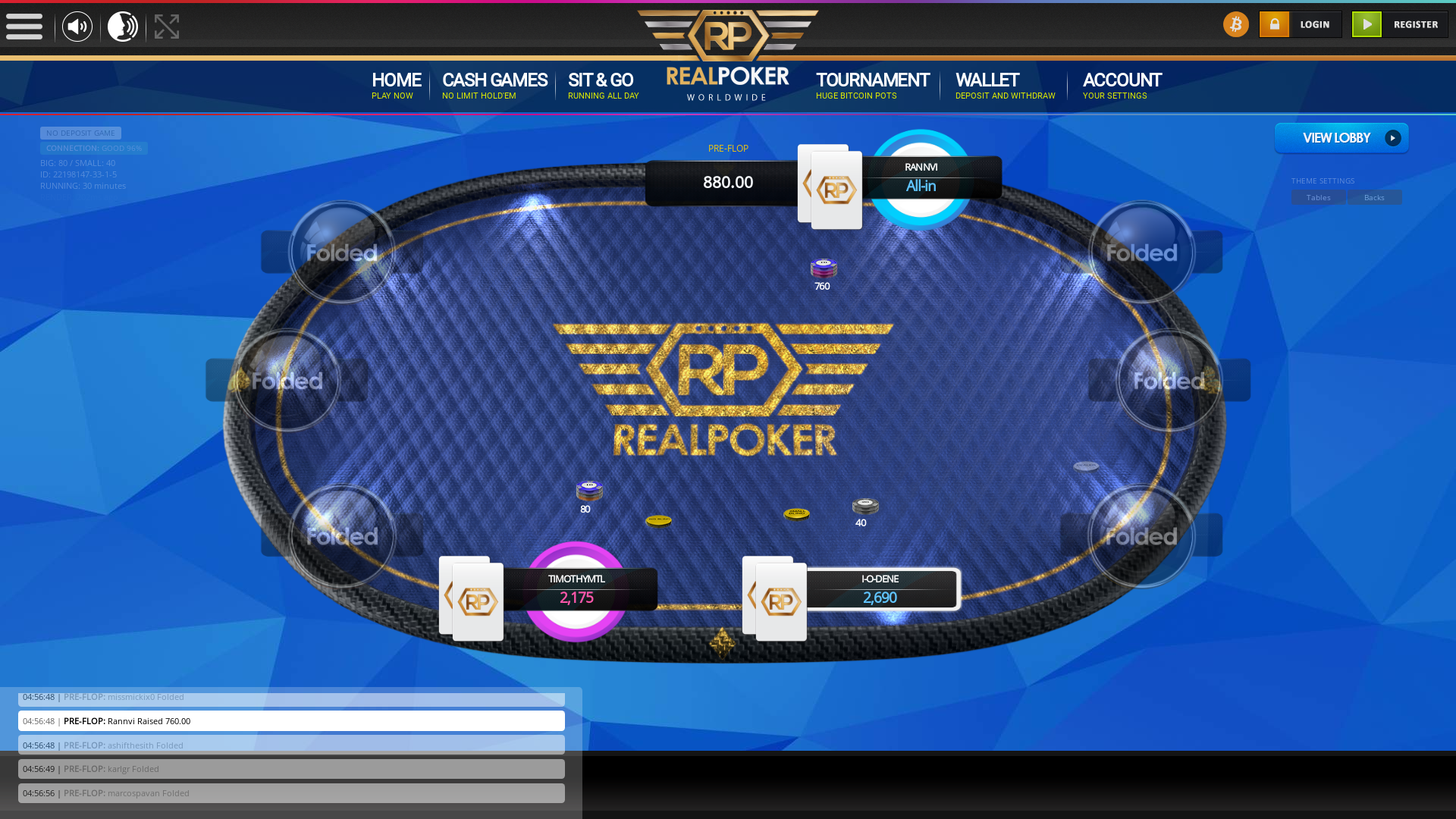 Slovenia online poker game on a 10 player table in the 29th minute