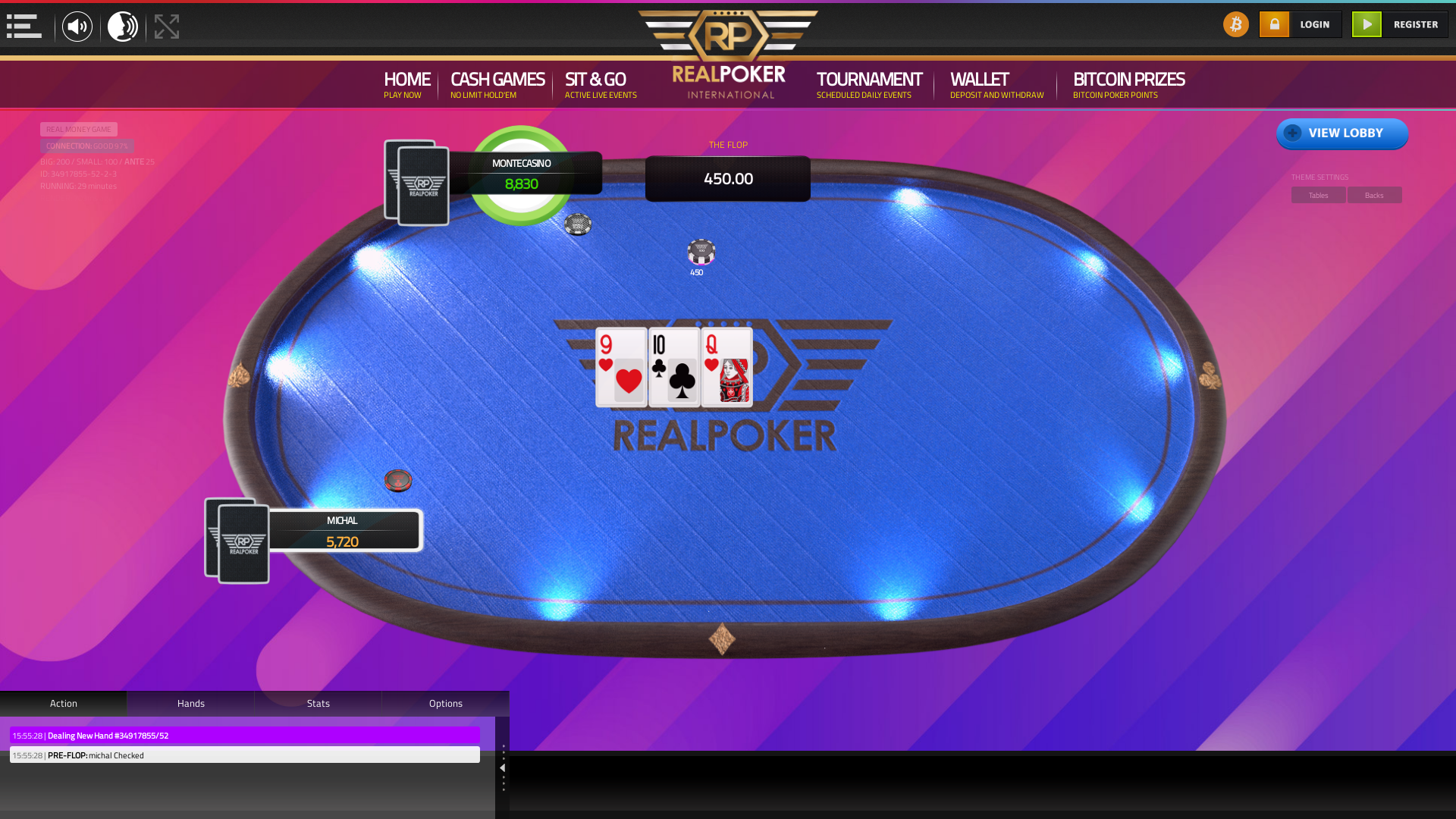 The 53rd hand dealt between montecasino, michal,  on poker bitcoin