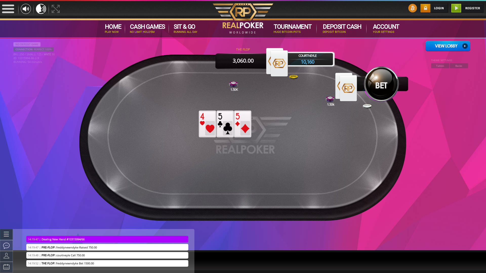 The 66th hand dealt between freddynewndyke, courtneyle,  on poker bitcoin