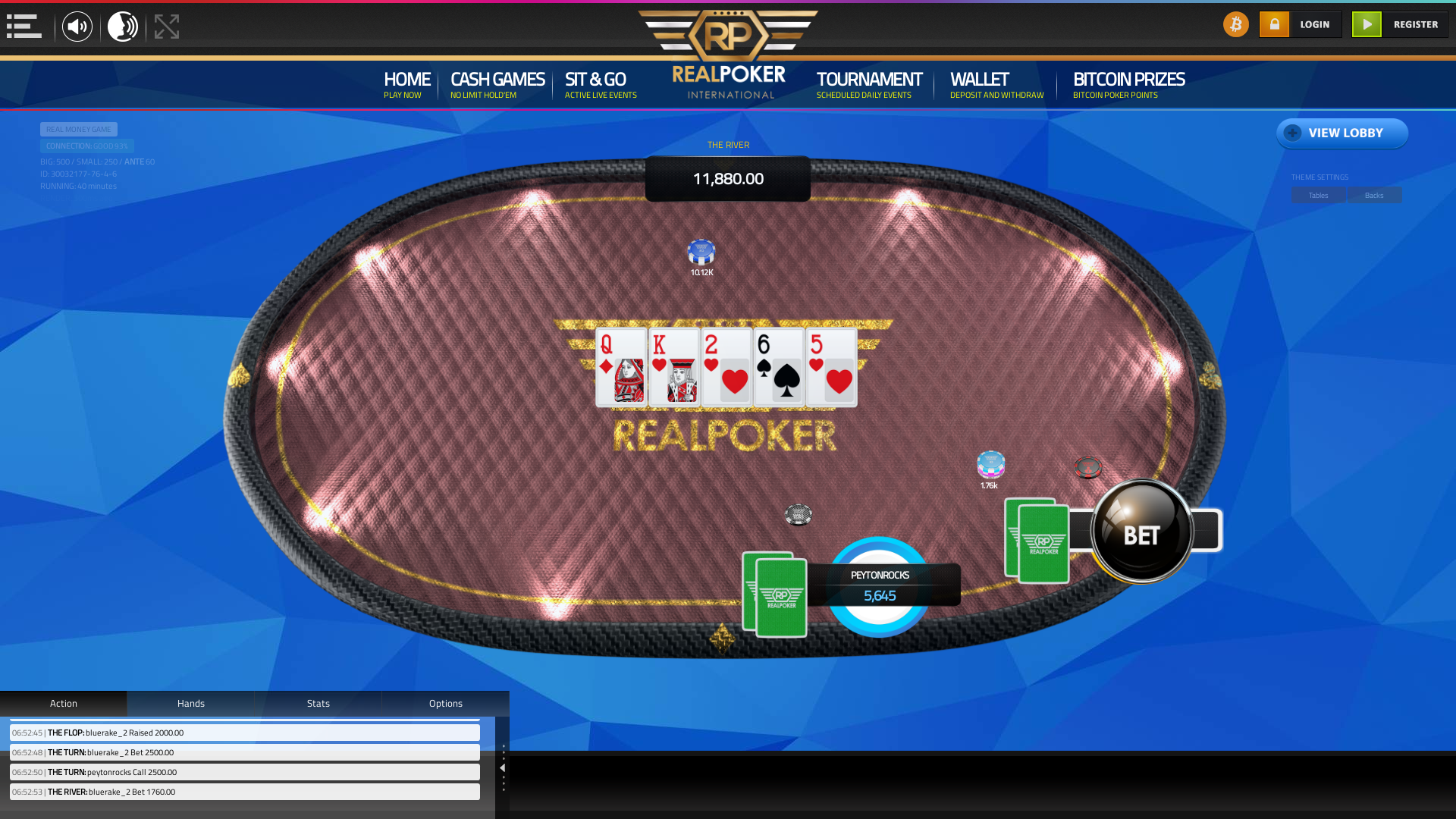The 76th hand dealt between peytonrocks, bluerake_2,