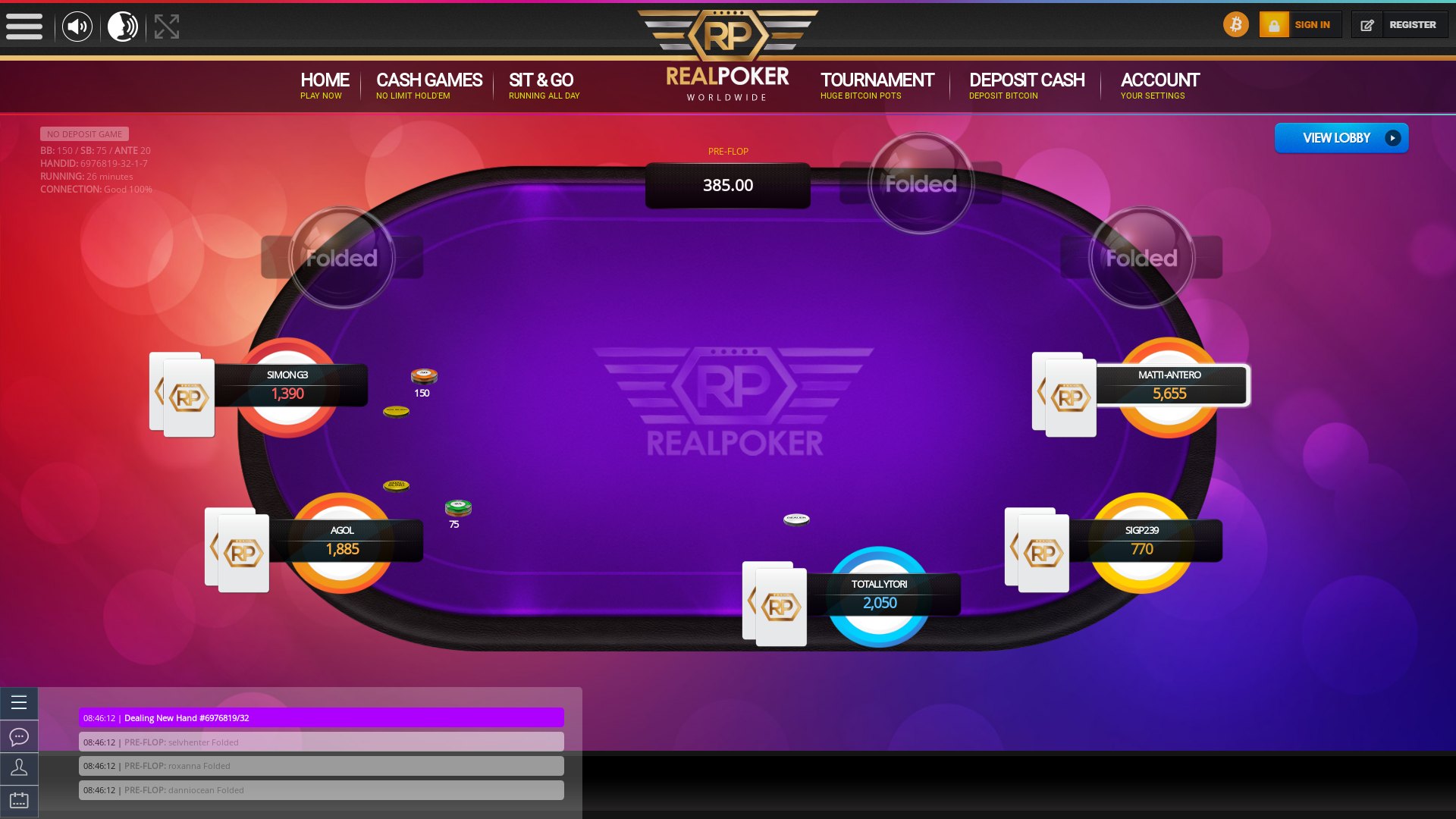 Vienna online poker game on a 10 player table in the 26th minute of the match